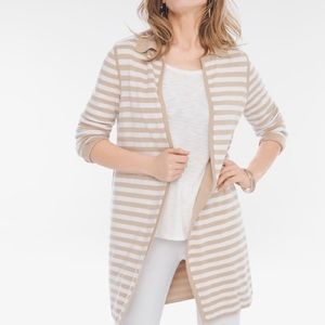 CHICOS Reversible Solid Striped Cardigan